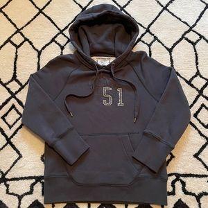 J. Crew Dark Grey Hoodie Stitched 51 Crown Detail